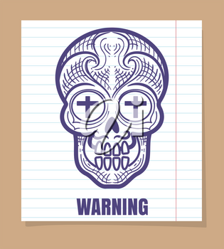 Calavera or sugar skull on linear page. Vector day of dead poster