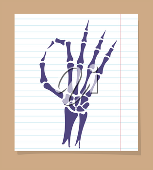 Skeleton hand sign. Vector OK sign of skeleton hand on linear page