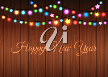 Glowing garland on the wood background, vector illustration