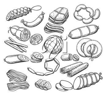 Sausages sketch. Vintage sausage and meat food vector doodles, ham and salami, pepperoni and wieners hand drawn vector illustration