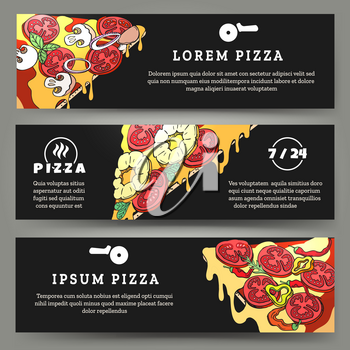 Pizza flyers. Banners templates with pizza slices on desk background for pizzeria cafe and delivery, vector illustration