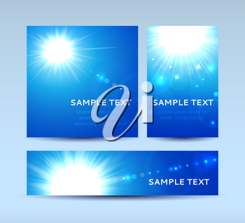 Vector illustration of invitation cards in blue colors with sun and lens flare
