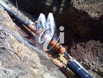 Pressure testing of the pipeline at construction. Installation of the pipeline.