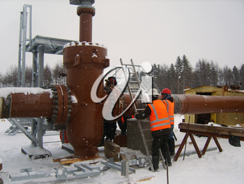 RUSSIA, SURGUT, NOVEMBER 26, 2008: Construction of an oil and gas pipeline Industrial equipment