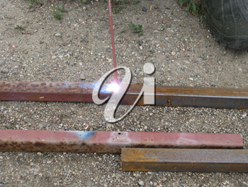 Welding of steel square pipe electric welding. The use of electric welding in the home.