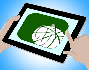 Basketball Online Representing Tablet Playing 3d Illustration