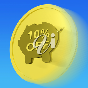Ten Percent Gold Off Coin Showing 10% Savings And Discount