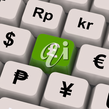 Pound And Currencies Computer Keys Show Money Exchange Or Forex