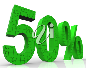 50% Sign Shows Sales Discount And Promotions