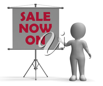 Sale Now On Board Showing Special Offers And Discounts