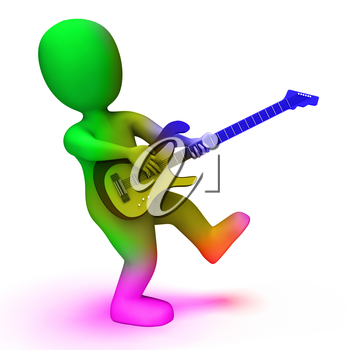 Rock Guitarist Showing Music Guitar Playing And Character