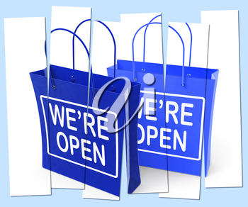 We're Open Shopping Bags Showing Grand Opening or Launch