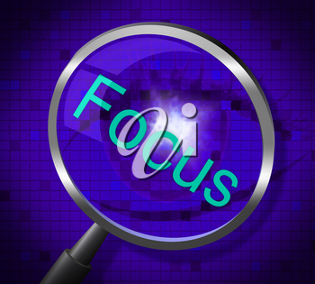 Magnifier Focus Representing Searches Concentrate And Concentration