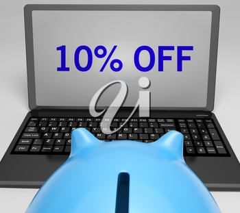 Ten Percent Off On Notebook Showing Reductions And Promos