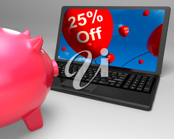 Twenty-Five Percent Off On Laptop Shows Discounts And Special Deals