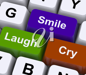 Laugh Cry Smile Keys Representing Different Emotions