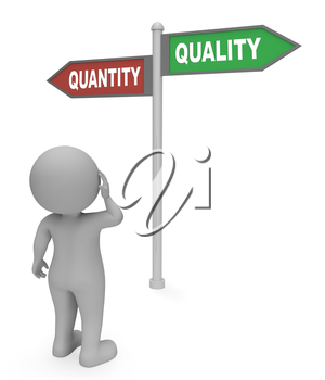 Quantity Quality Sign Representing Satisfied Excellent And Production 3d Rendering