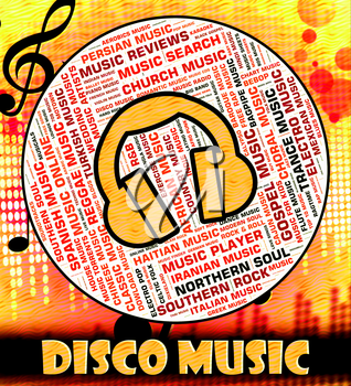 Disco Music Indicating Sound Track And Celebration
