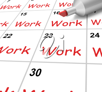 Work Calendar Showing Job Occupation Or Labor
