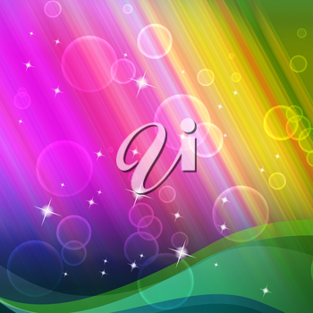 Rainbow Bubbles Background Showing Circles And Ripples