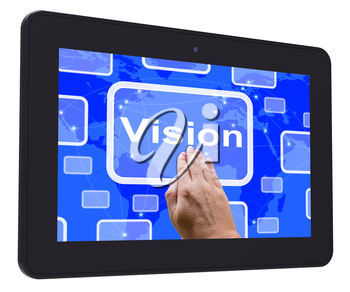 Vision Tablet Touch Screen Showing Concept Strategy Or Idea
