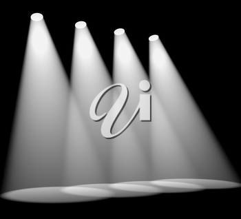 Four White Spotlights In Row On Stage For Highlighting Products