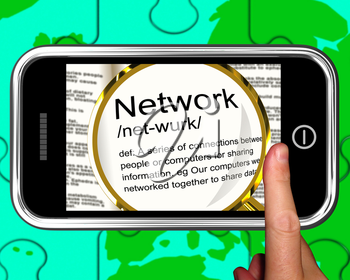 Network Definition On Smartphone Showing Networking And Online Connections