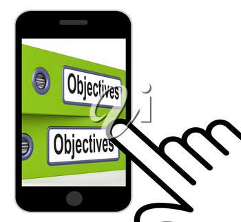 Objectives Folders Displaying Business Goals And Targets