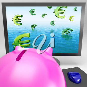Euro Symbols Drowning On Monitor Shows European Depression Or Problems