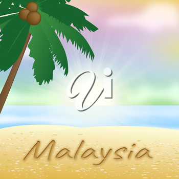 Malaysia Beach With Palm Tree Showing Vacation Asia 3d Illustration