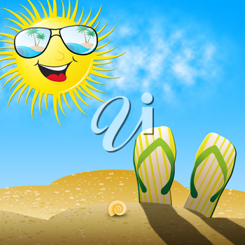 Beautiful Beach Shows Smiling Sun And Beach Shoes 3d Illustration