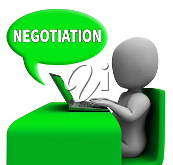 Negotiation Communication Man With Laptop Means Negotiate Online 3d Rendering