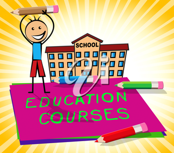 Education Courses Paper Displays Course 3d Illustration
