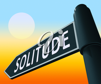 Solitude Road Sign Displaying Alone And Lost 3d Illustration