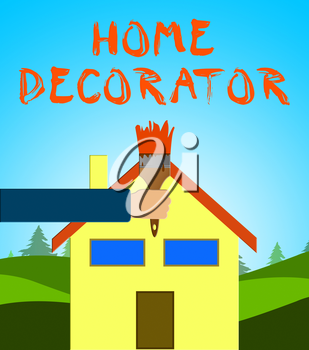 Home Decorator Paintbrush Meaning House Painting 3d Illustration
