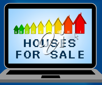 Houses For Sale Laptop Representing Sell Property 3d Illustration