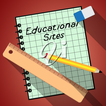 Educational Sites Notebook Represents Learning Websites 3d Illustration