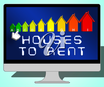 Houses To Rent Laptop Representing Real Estate 3d Illustration