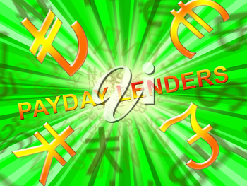 Payday Lenders Symbols Means Earnings Loan 3d Illustration