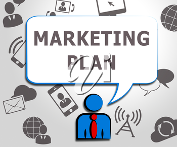Marketing Plan Icons Shows Emarketing Scheme 3d Illustration