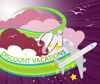 Discount Vacations Plane Shows Promo Vacation 3d Illustration
