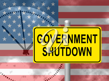 Government Shut Down Us Clock Means United States Political Closure. President And Senators Cause Shutdown Across The Nation