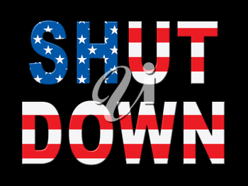 Usa Shutdown Words Political Government Shut Down Means National Furlough. Senate And President In Washington DC Create Closure