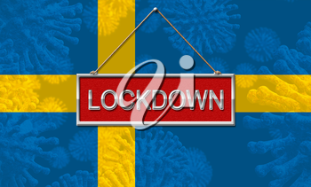 Sweden lockdown halting coronavirus spread and outbreak. Covid 19 Swedish precaution to lock down virus disease - 3d Illustration