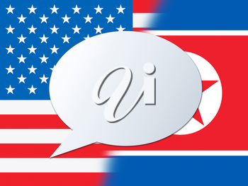 North Korean American Meeting Copy Space 3d Illustration. Conflict And Accord To Build Peace With US Speech Bubble