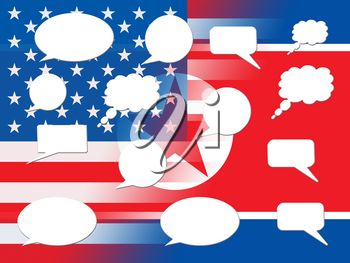 North Korean Americans Talking Speech Bubbles 3d Illustration. Cooperation And Talks To Build Rapport With US