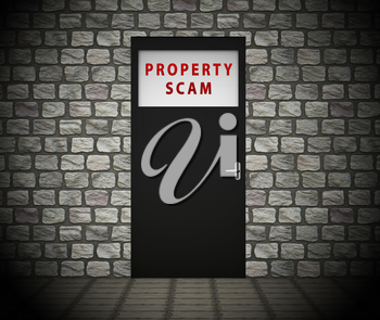 Property Scam Hoax Doorway Depicting Mortgage Or Real Estate Fraud. Residential Properties Realty Swindle - 3d Illustration