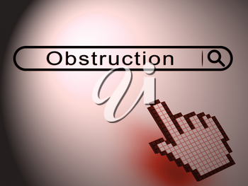 Obstruction Of Justice And Corruption Search Meaning Impeding A Legal Case 3d Illustration. Hindering The Process Of Law