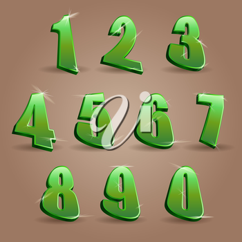Numbers set in glittering green metal modern style. Vector illustration