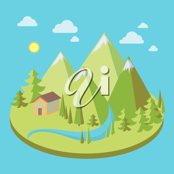 Mountain landscape with pine trees, house and river in flat style, eco scene, vector illustration